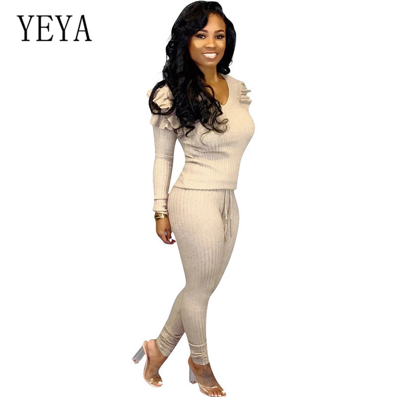 YEYA Two Pieces Sets Long Sleeve Sexy Pit Pencil Playsuits Stylish Elegant Femme Ruffles Jumpsuits Casual Rompers for Ladies