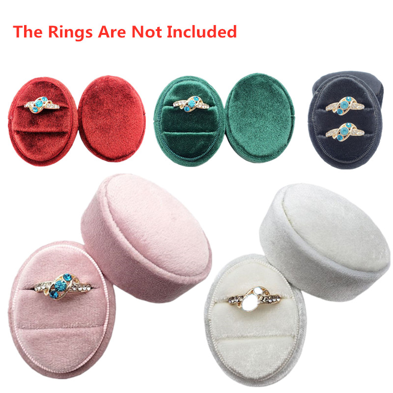 Premium Gorgeous Oval Vintage Velvet Ring Bearer Box With Double Ring Display Holder Two Slots Detachable Lid For Wedding Gift