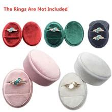 Preciosa caja para guardar anillos de terciopelo ovalado de primera calidad con Soporte de doble anillo con dos ranuras tapa desmontable para regalo de boda