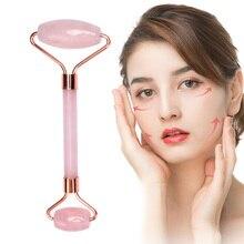 Массажный ролик для лица с двумя головками Нефритовый камень для подтяжки лица Расслабление кожи тела для похудения красота забота о здоровье