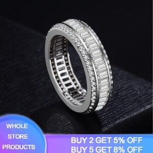 YANHUI luksusowe pełna księżniczka Cut 6.4 CT biały cyrkon srebrny 925 biżuteria obrączki obrączki JZ085