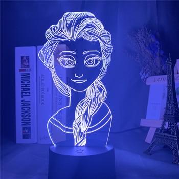 Figuras de dibujos animados de Disney, Elsa, 3D, luz nocturna, lámpara LED,...