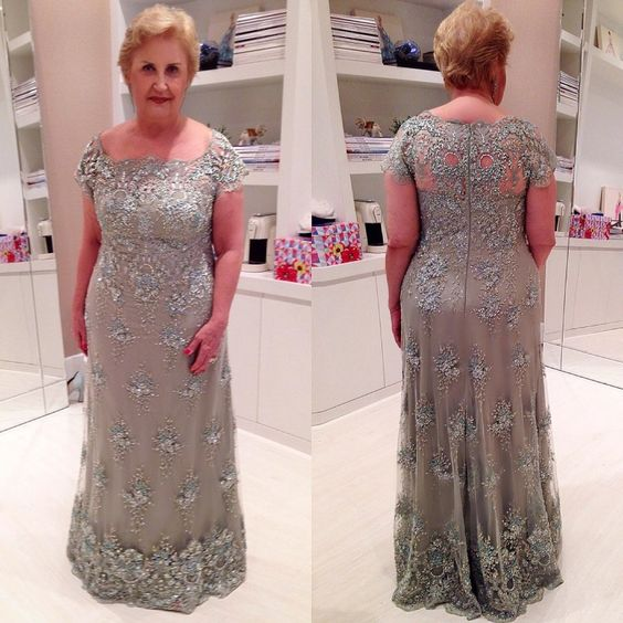 2020 Elegent Mother Of The Bride Dresses Plus Size Vestidos De Fiesta Appliques Short Sleeves Custom Made Formal Occasions Gowns