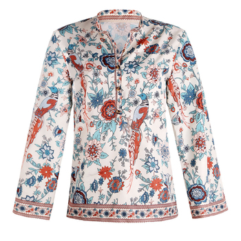 Fashion Women Flare Long Sleeve Blouse Shirt Ladies Floral Peacock Printed V Neck Tops and Blusas Clothing