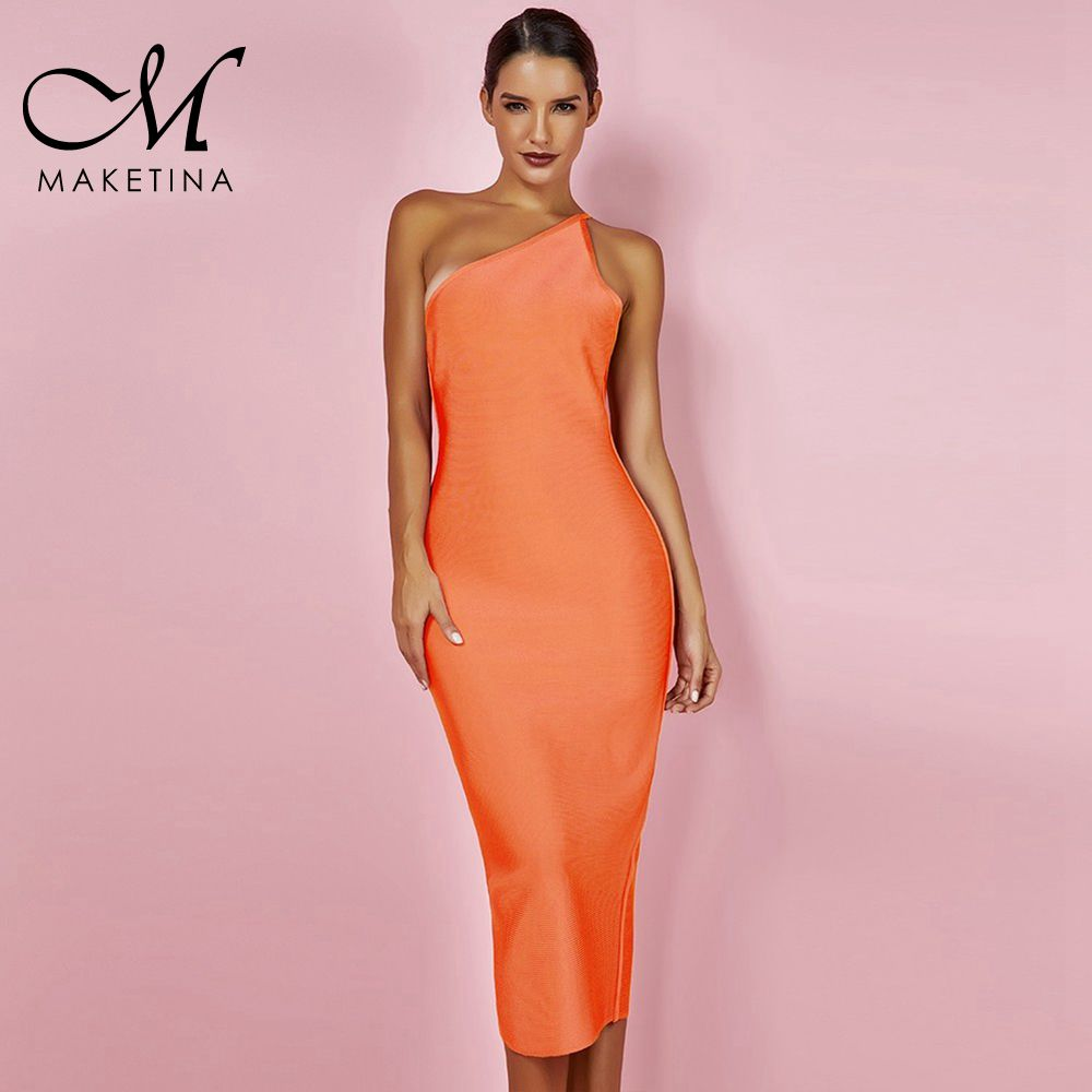 Maketina Summer Women Bandage <font><b>Dress</b></font> Vestidos 2019 Elegant One Off Shoulder Bandage <font><b>Dress</b></font> <font><b>Orange</b></font> <font><b>Sexy</b></font> Bodycon <font><b>Dress</b></font> Party Club image