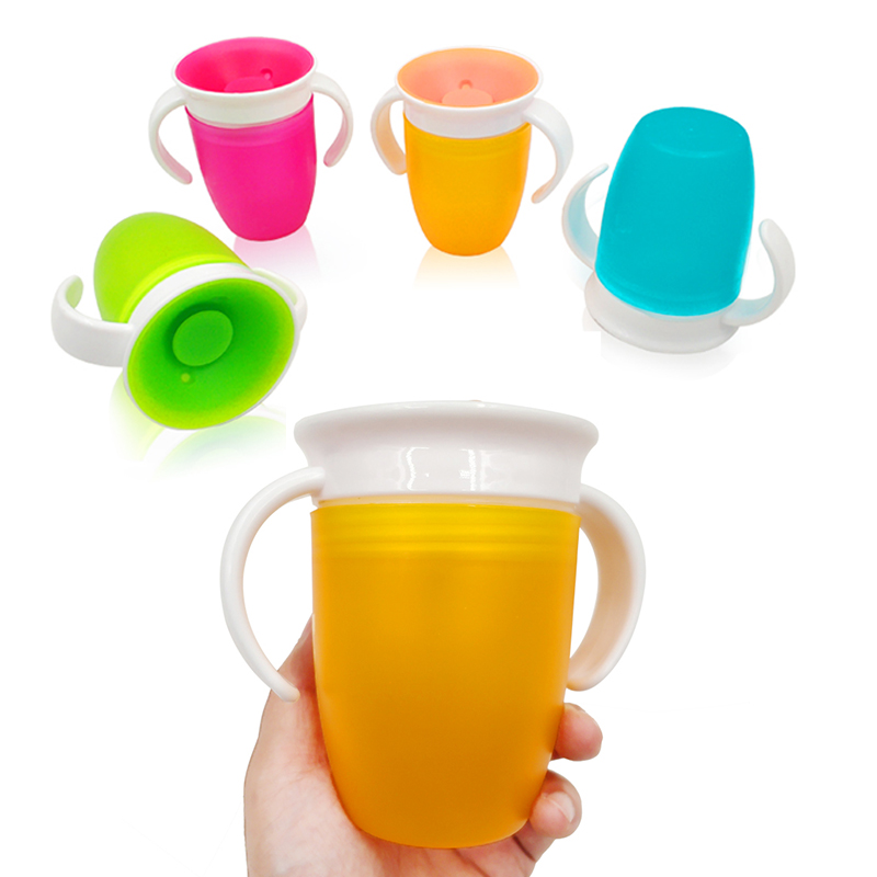360 Degrees Rotated Baby Learning Drinking Cup With Double Handle Flip Lid Leakproof Magic Cup Kids Water Feeding Cups Bottle