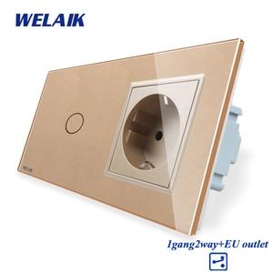 Image 5 - WELAIK 2Frame Crystal Glass Panel Wall Switch EU Touch Switch Screen EU Wall Socket 1gang 2way AC250V A29128ECW/B