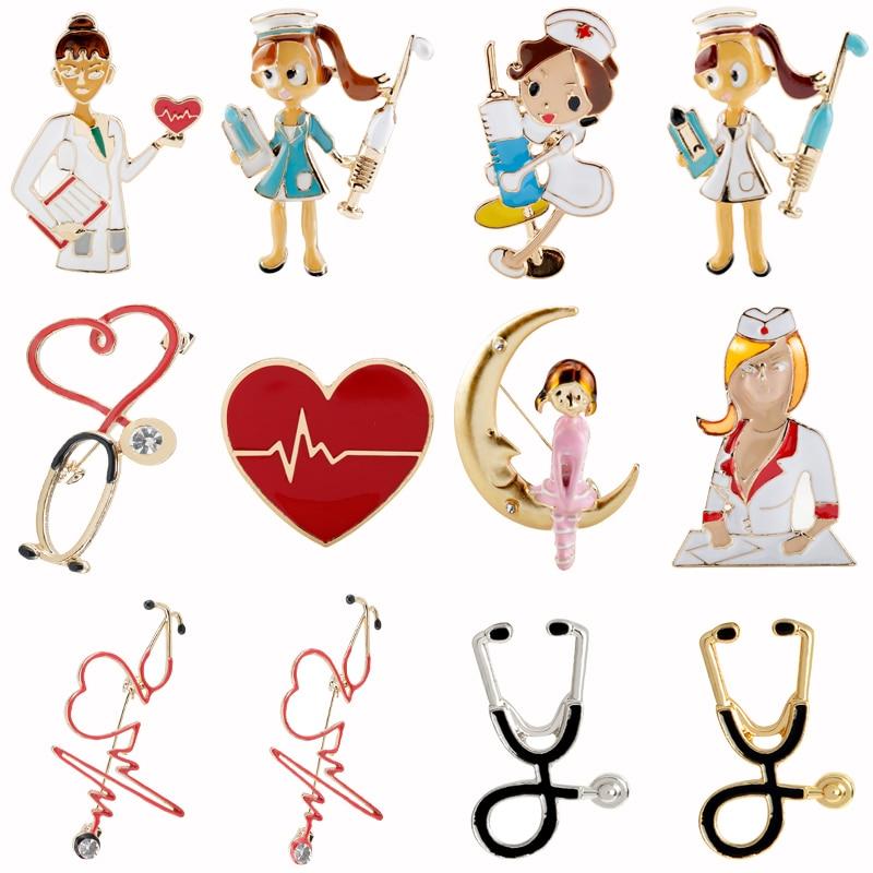 Medical Brooches Nurse Pins Enamel Colorful Stethoscope Nurse Heartbeat Shape Brooch Jewelry Cute Metal Gift for Doctor Nurse