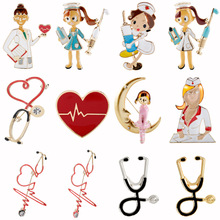 Medical-Brooches Stethoscope Gift Doctor Nurse-Pins Metal Cute Enamel Heartbeat-Shape