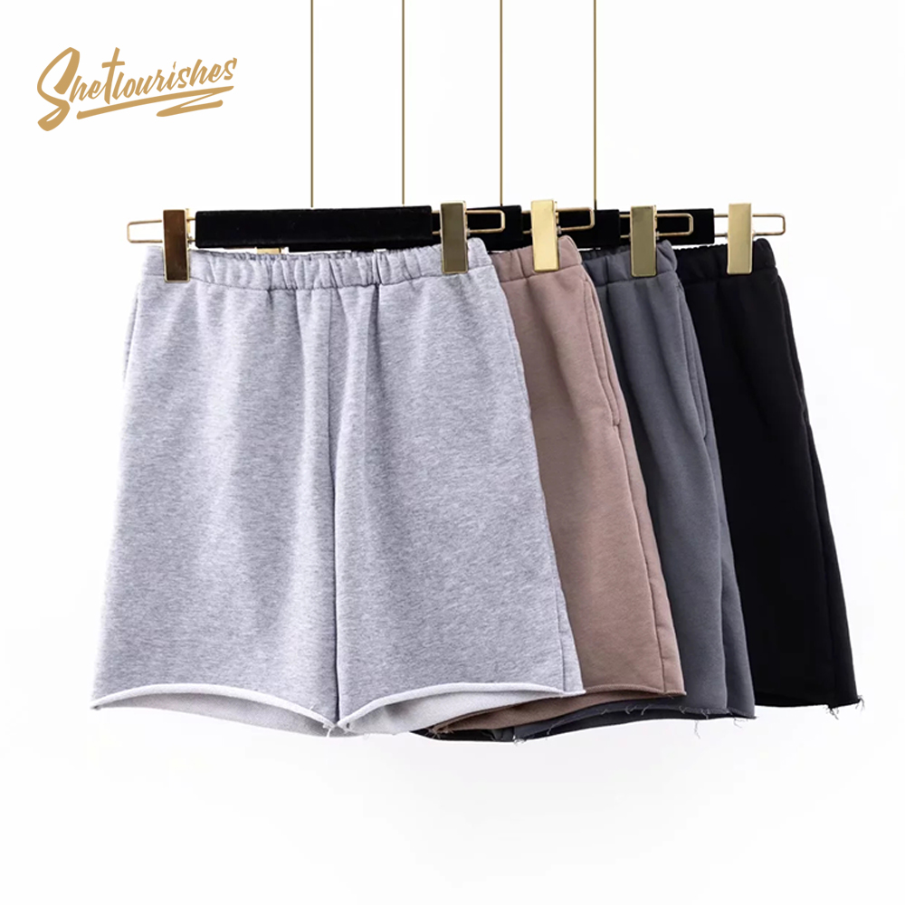 Sheflourishes Womens Solid Camel Shorts High Waist Retro Biker Shorts With Pockets Vintage Cotton Loose Gray Gym Shorts SFD1b