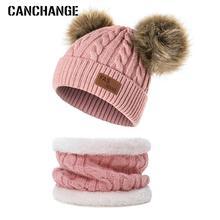 Canreal/ зимний комплект из шапки и шарфа для мальчиков и девочек, одноцветная вязаная шапка с помпонами, плотная шапка для малышей, теплая шапка для малышей 0-3 лет