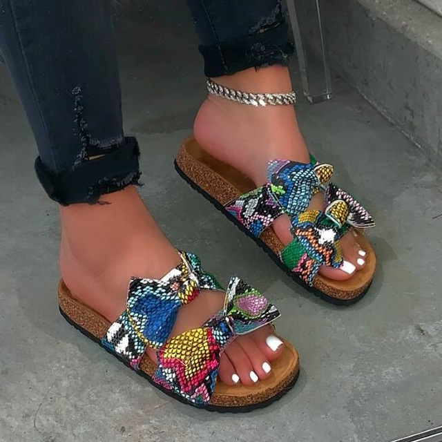 2019 New Fashion Women Slippers Beach Shoes Bow Cross Thick Sandals Leopard Grain Outdoor Wild Travel Home Flat Slippers