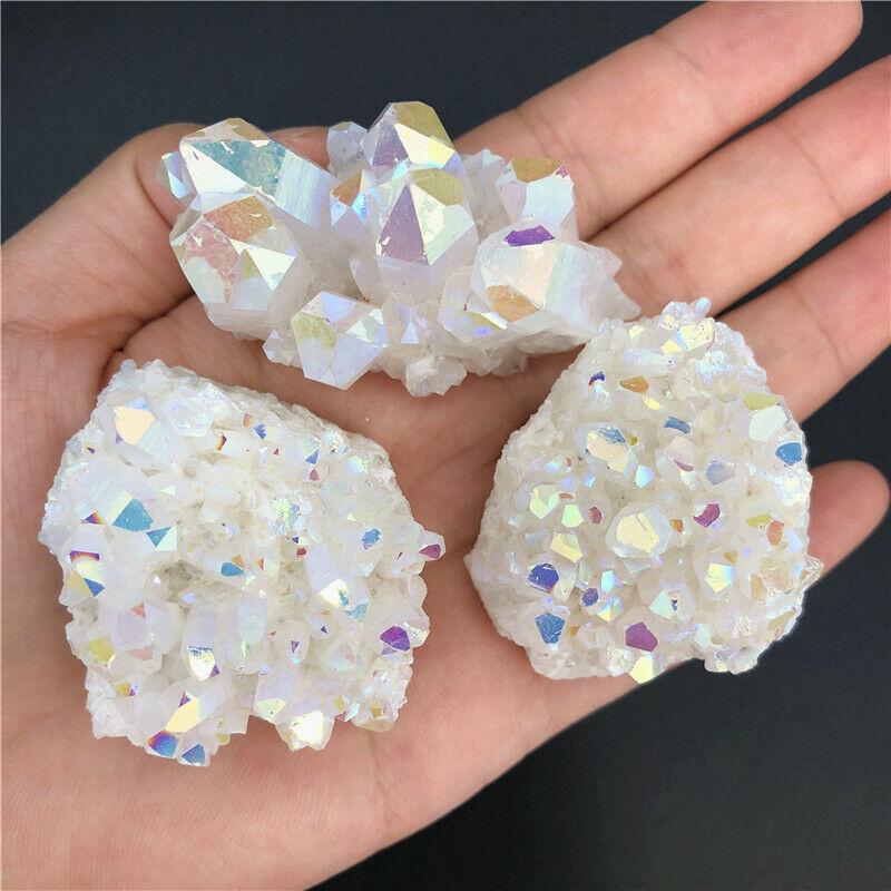 1pc Rainbow Titanium Aura White Crystal Lemurian Cluster Quartz Crystal Points Gifts Natural Quartz Crystals