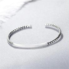Lulu-porco quente 925 925 prata esterlina pulseira versão coreana da moda criativa mahua retangular geométrica pulseira b189
