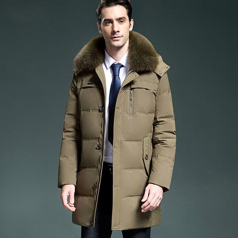 Men's New 2020 Down Jacket Winter Long Coat Men Fox Fur Collar Thick Puffer Jackets Parka Doudoune Hiver Homme KJ1026 S