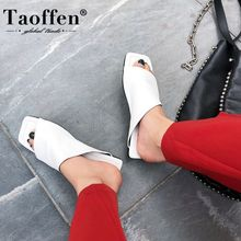 Taoffen New Women Sandals Real Leather Square Toe Flat Heel