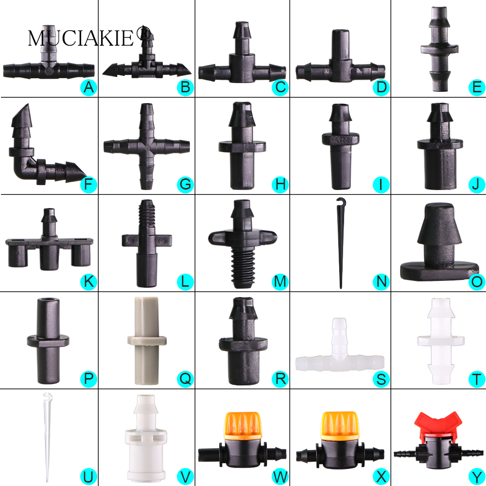 MUCIAKIE Sprinkler Irrigation 1 4 Inch Barb Tee Single Double Barb Barbed Water Pipe Connectors For MUCIAKIE Sprinkler Irrigation 1/4 Inch Barb Tee Single Double Barb Barbed Water Pipe Connectors For 4/7mm Hose Garden Fitting