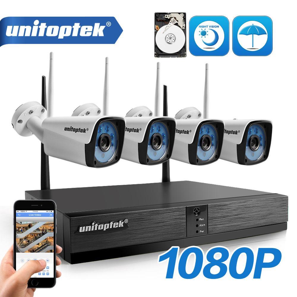 H.265 1080P 2MP 4Ch système de caméra de vidéosurveillance sans fil mis en plein air étanche vidéo sécurité Surveillance WIFI caméra Kit P2P APP XMEYE
