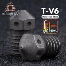 Trianglelab boquillas de T V6 de acero endurecido, impresora 3D de alta temperatura, filamento de fibra de carbono PEI PEEK para E3D V6 hotend prusa MK3S