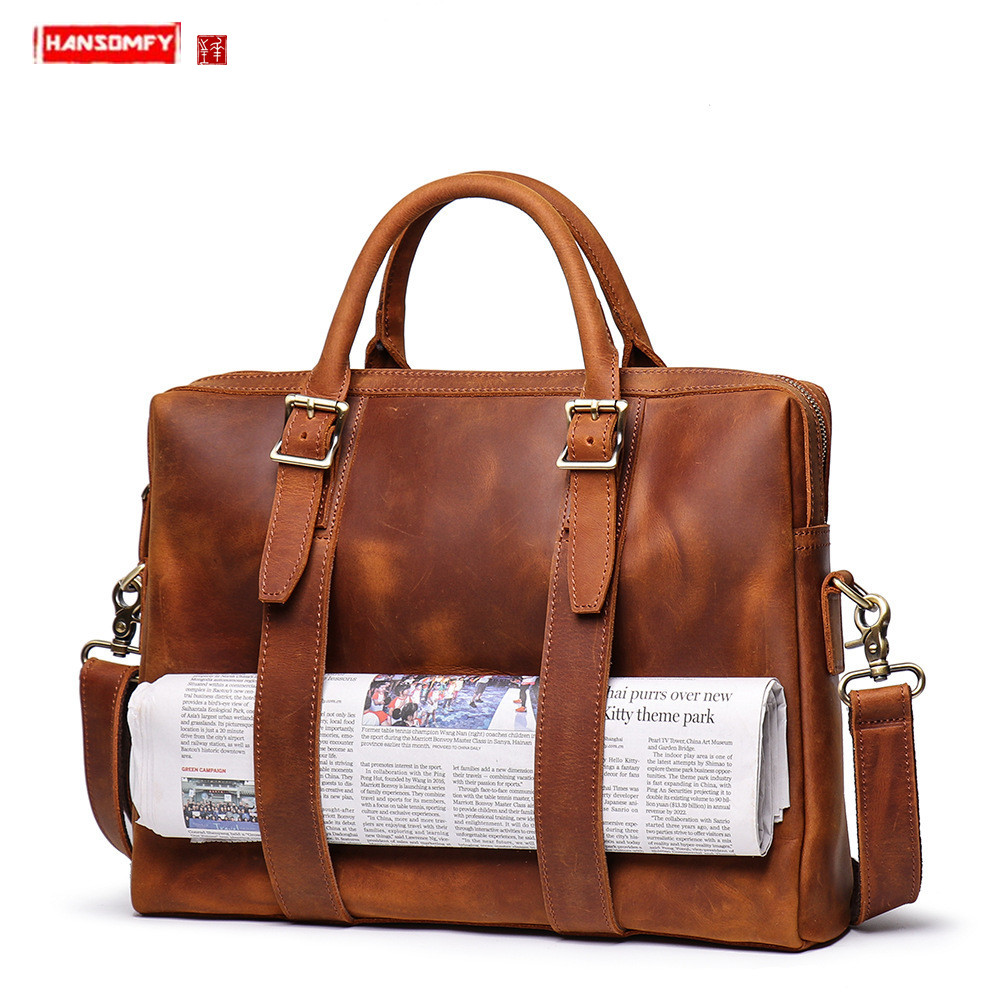 New Men's Crazy Horse Leather Handbag Genuine Leather Large Capacity Men Computer Bag Cowhide Shoulder Diagonal Briefcase 15.6