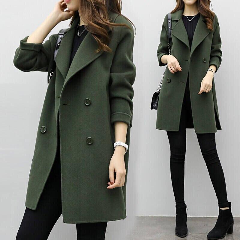 2019 Winter Coat Women Plus Size Korean Fashion Belt Womens Coats Slim Artificial Wool Outerwear Warm Winter Jacket For Female 8