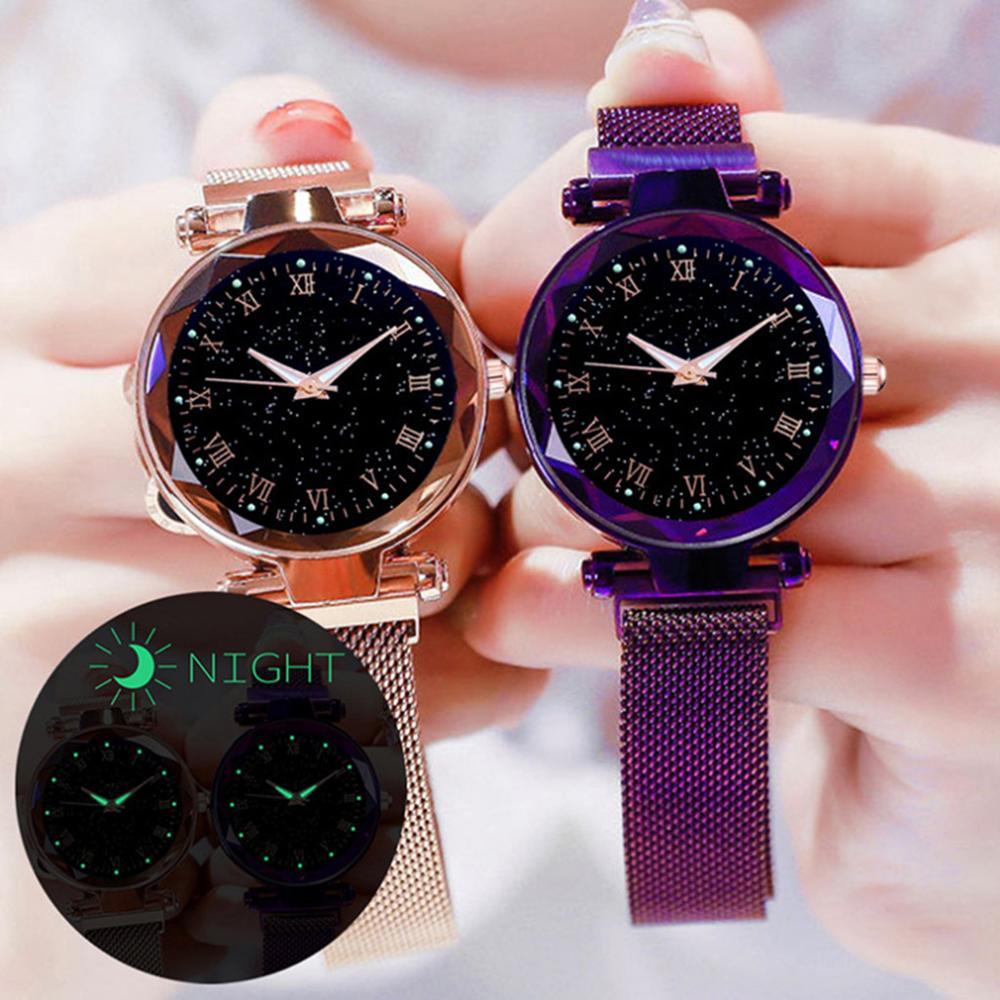 Women Bracelet Watches Fashion Luxury Magnetic Buckle Stainless Steel Strap Luminous Dial Starry Sky Quartz Watch Montre Femme