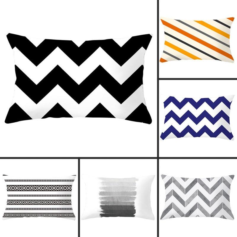 30x50cm Simple Striped Geometric Print Pillowcase Polyester Peachskin Pillowcases Waist Pillow Cover Decorative Pillows Cover