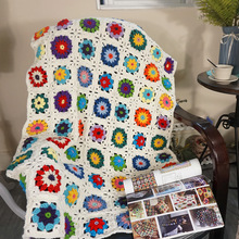Handmade Sofa Mat Crochet blanket Cushion Granny square afghan blanket Colourful Stereo Daisy  Tablecloth Table runner
