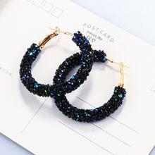 Big circle earrings for women female fashion gold cubic zirconia