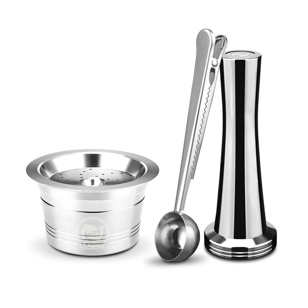For Caffitaly Tchibo Cafissimo ALDI Expressi Refillable K-Fee Coffee Capsule Pod Filters Stainless Steel Cafeteira Tamper Spoon(China)