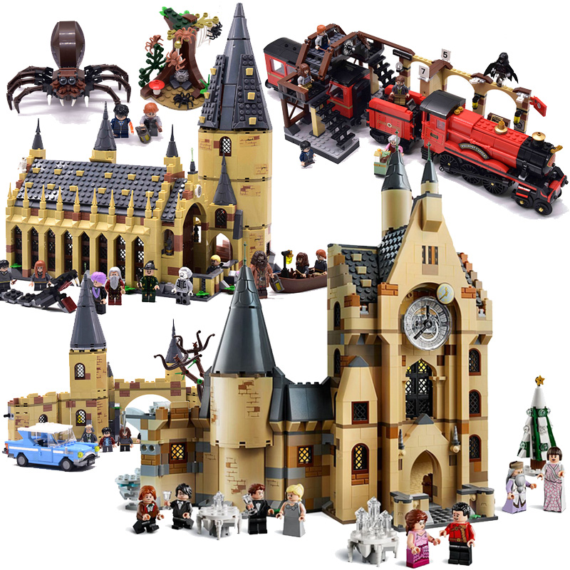 New Harri Mini Castle Train Figures Building Blocks Brick Christmas Legoinglys Toys For Children 75948 75953 75954 75955 75950