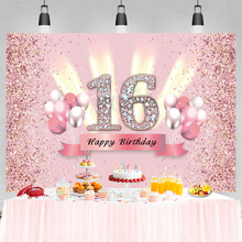 Pink Sweet 16th 18th 30th 40Th Birthday Party Shiny Diamond Dots Balloons Customized Banner Photo Background Photo Backdrops