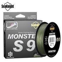 Seaknight marca s9 série 300m 500m pe linha de pesca 9 vertente reversa espiral tecnologia multifilamento forte carpa linha de pesca 20 100lb