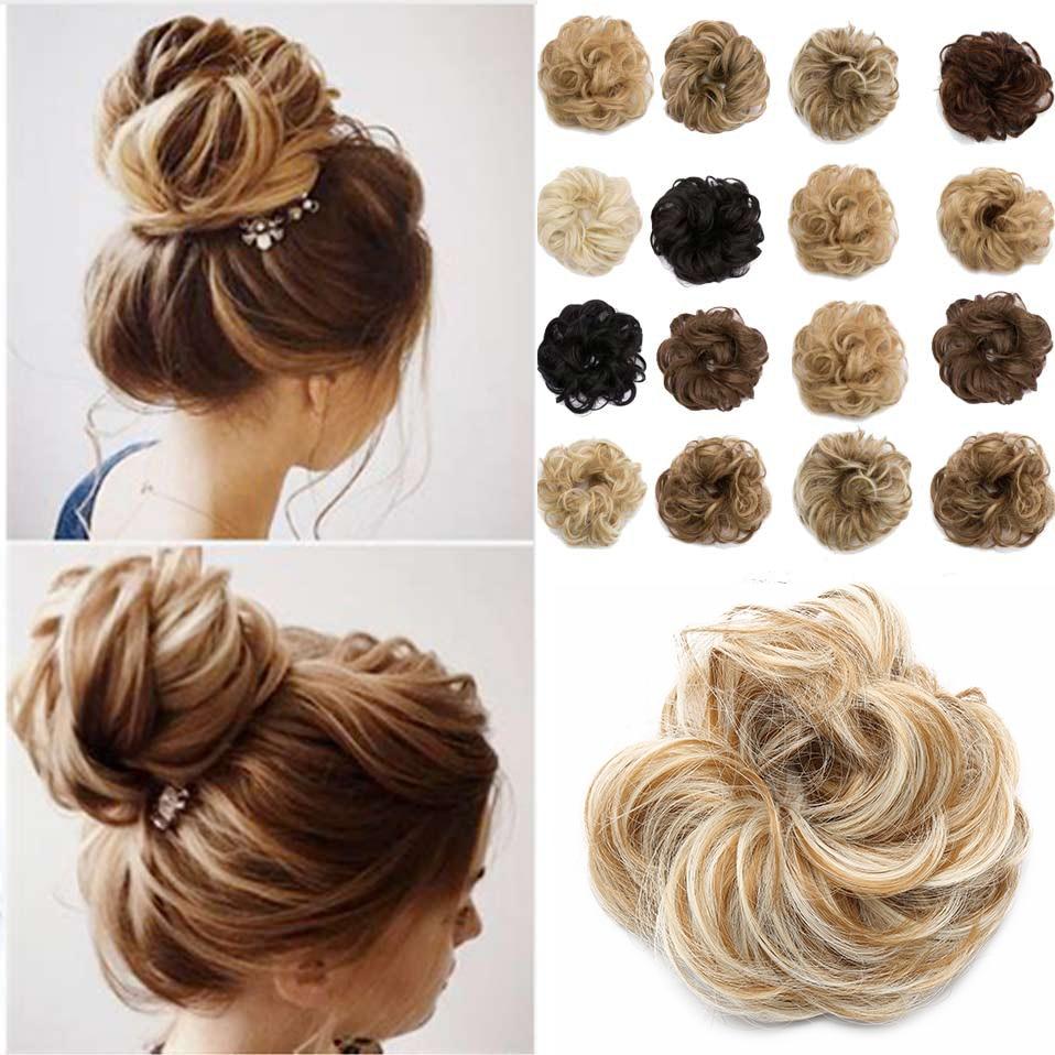 S-noilite Synthetic Hair Chignons Elastic Scrunchie Hair Extensions Ribbon Ponytail Hair Clip Bundles Hairpieces Donut Buns