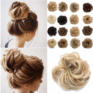S-noilite Synthetic Hair Chignons Elastic Scrunchie Hair Extensions Ribbon Ponytail Hair Clip Bundles Hairpieces Donut Buns(China)