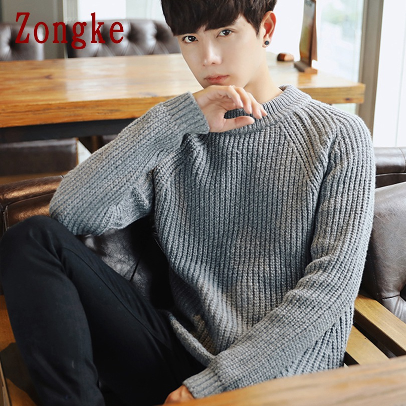 Zongke O-Neck Solid Striped Winter Sweater Men Coat Pullover Men Sweater Winter Mens Sweaters For 2019 Autumn Man Clothes XXL