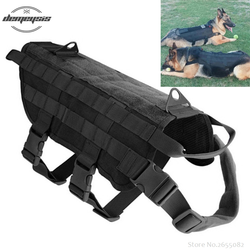 Outdoor Military Tactical Dog Clothes Load Bearing Training Molle Vest Harness  Clothing
