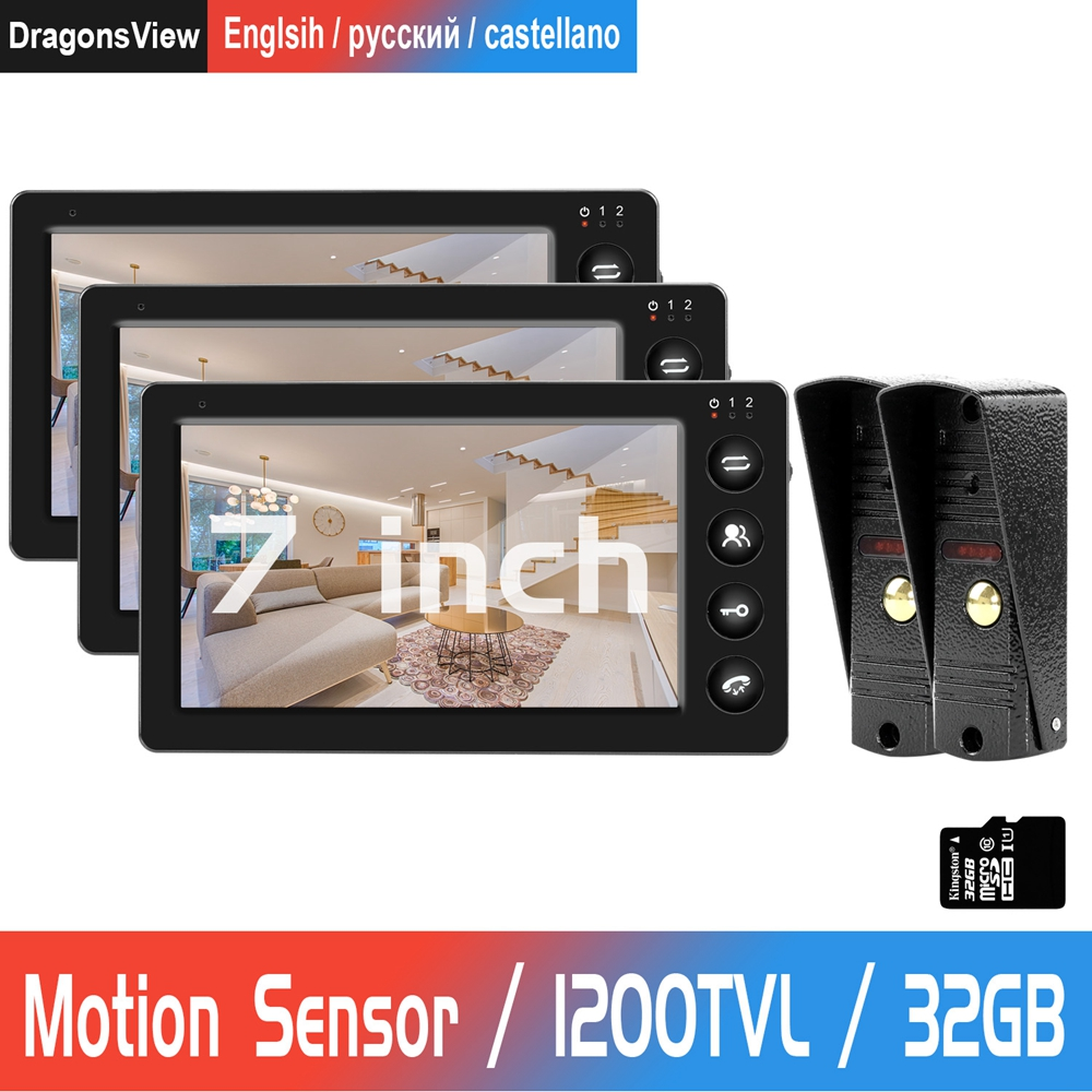 7 Inch Wired Video Door Phone 3 Monitor With 2 Doorbell Camera Home Video Doorbell Support Motion Detection Record Door Intercom