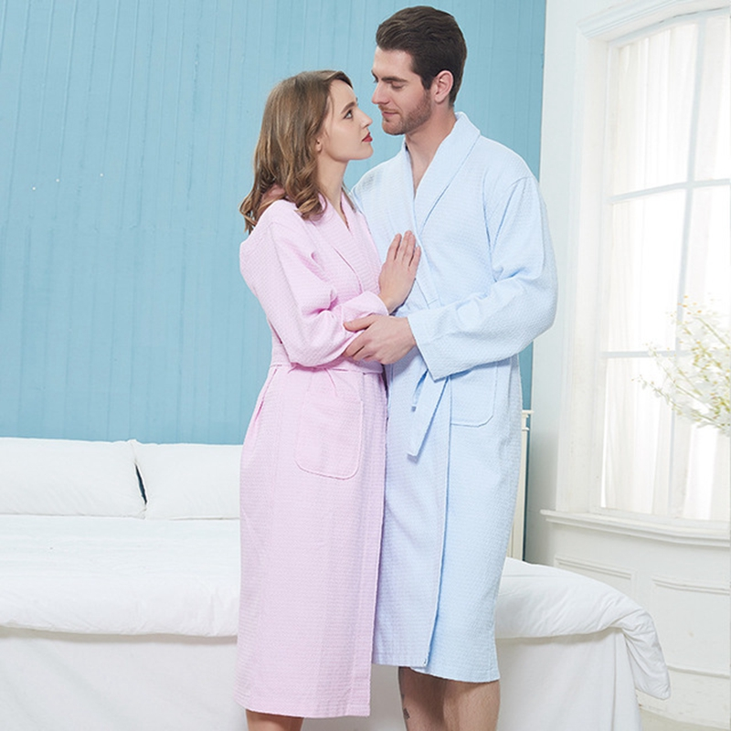 Men Robe 100% Cotton Lovers Solid Waffle Robe Bathrobe Soft Hotel Robe Beauty Salon Robe Ladies Casual Homewear мужские халаты