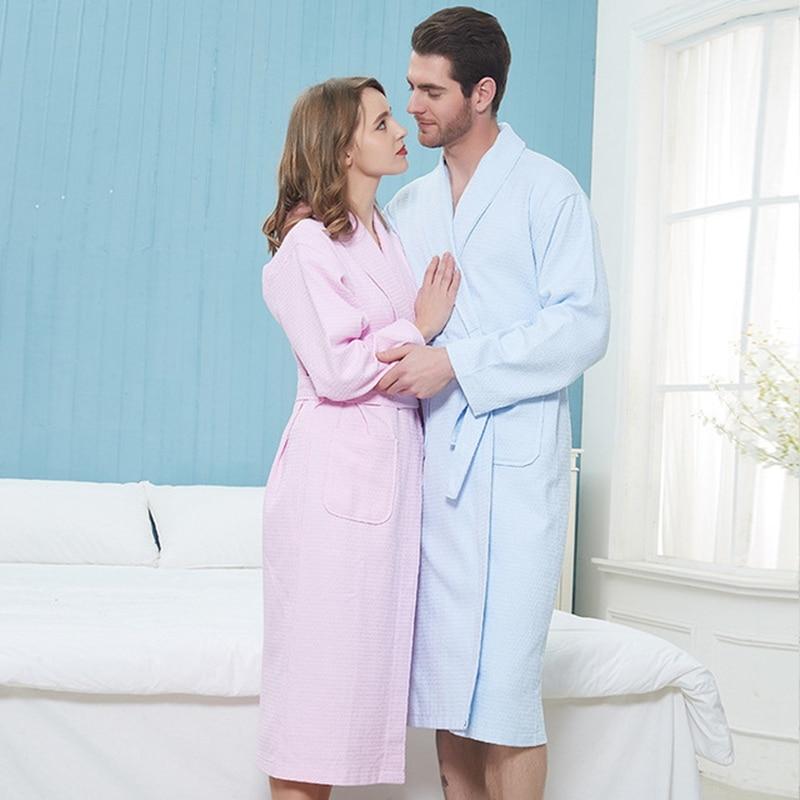 Men Robe 100% Cotton Lovers Solid Waffle Robe Bathrobe Soft Hotel Robe Beauty Salon Robe Ladies Casual Homewear мужские халаты