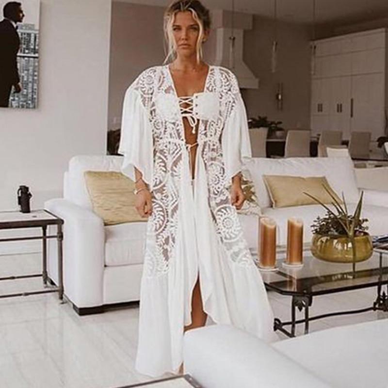 Crochet White Knitted Beach Cover up dress Tunic Long Pareos Bikinis Cover ups Swim Cover up Robe Plage Beachwear 11
