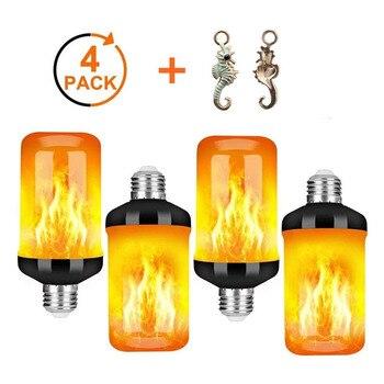 4 Uds E27 bombilla de llama 85-265V LED efecto de fuego dinámico parpadeante luz de noche emulación creativa lámpara de decoración de jardín