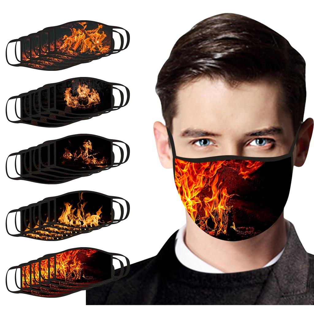 5 шт для взрослых огонь с печатным рисунком маска для лица на открытом воздухе PM2.5 защитная маска Анти-туман моющиеся Безопасность многоразо...