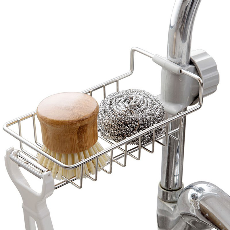 Faucet Sponge Holder Sink Organizer Drainer Faucet Hanging Storage Rack For Bathroom Kitchen Stainless Dish Drainer Pantry