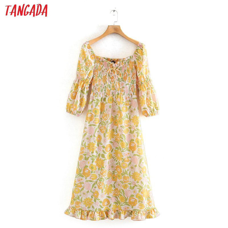 Tangada Women Summer Dress Yellow Floral Printed Bow Tie Pleated Short Sleeve 2020 Lady Midi Dresses Vestido 2XN01
