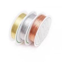 Fios de cobre de ouro e prata, 0.3/0.4/0.5/0.6/0.7/0.8mm fio miçangas para fabricação de jóias cores de cobre
