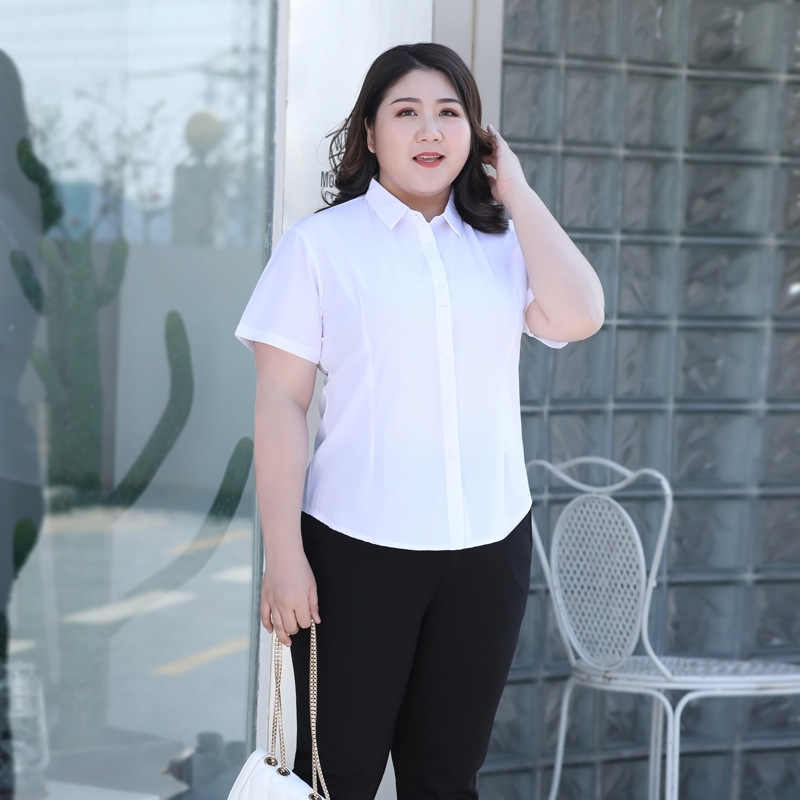 Nieuwe 2020 Zomer Plus Size Werkkleding Shirt Voor Vrouwen Grote Blouse Korte Mouw Formele Office Wit Shirt 3XL 4XL 5XL 6XL 7XL 8XL