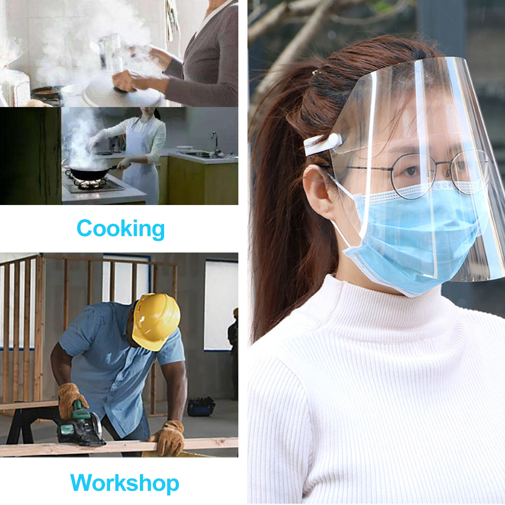 Image 5 - Outdoor Workshop Cleaning Protective Face Shield Clear Visor Flip  Up Transparent Mask Anti Splash Elastic Band Full Face CoverCycling  Face Mask