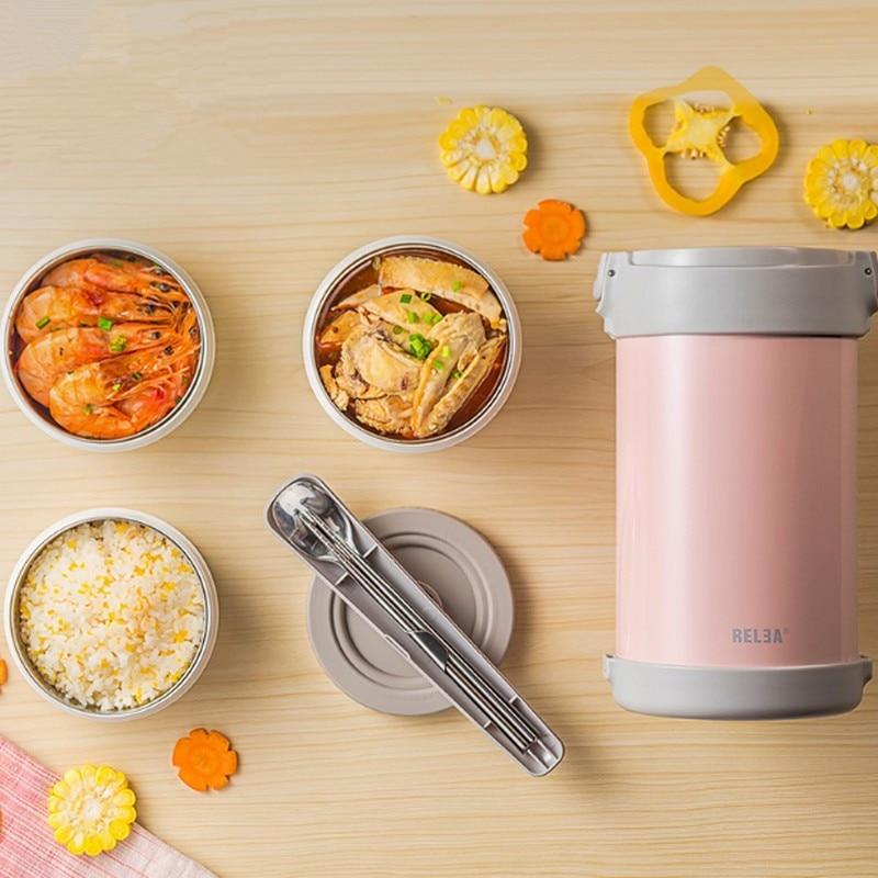 Высокое качество Нержавеющаясталь японский термо Ланч бокс 3 яруса изолированный охладитель для обеда сумка вакуумный контейнер для продуктов банка для хранения еды - 4