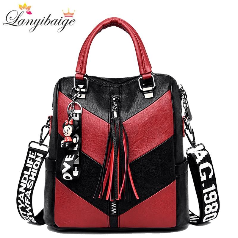 Fashion Women Backpacks Multifunctional Shoulder Bag High Quality Pu Leather Backpack School Bag For Girls Travel Backpack